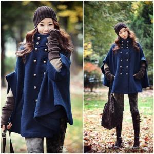 Double-Breasted Wool Cloak Cape Coa..
