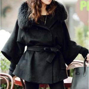 Fur Collar Black Button Fly Coat Fo..