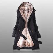 Thicken Fleece Faux Fur Warm Winter Coat Hood Parka Overcoat (2 colors) - size S thru 3XL