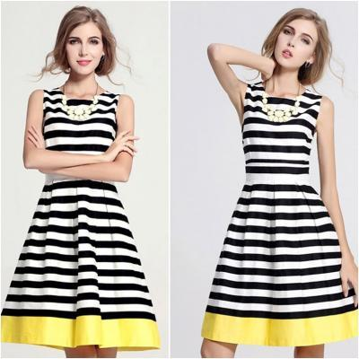 Spring/Summer 2015 Striped Black and White with Bold Yellow Shade