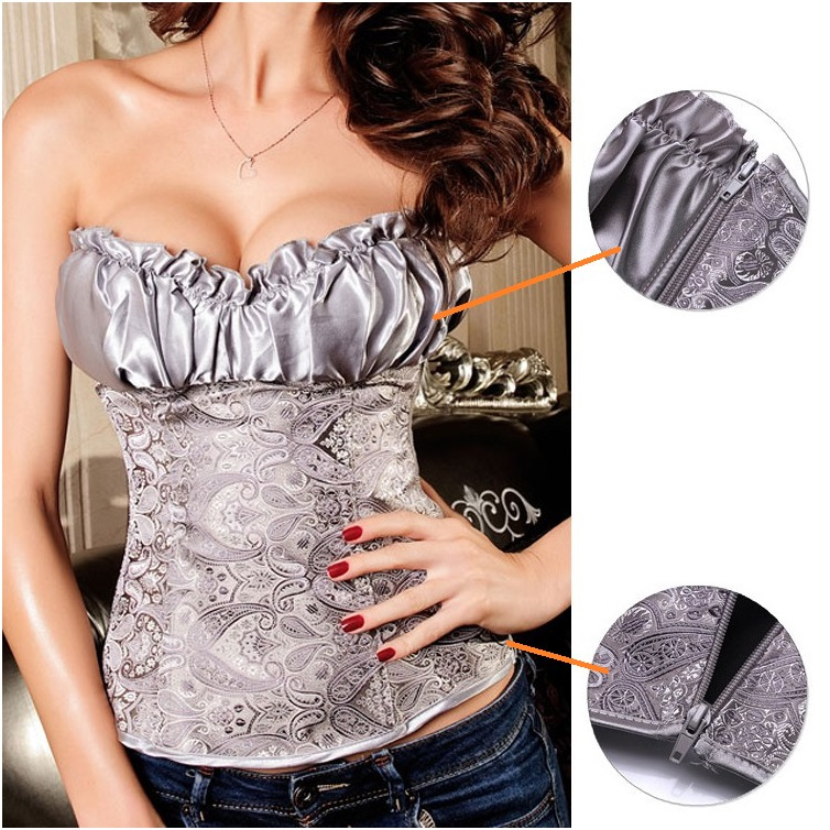3 colors - Embroidered Brocade Elegant Corset; S M L XL 2XL 3XL