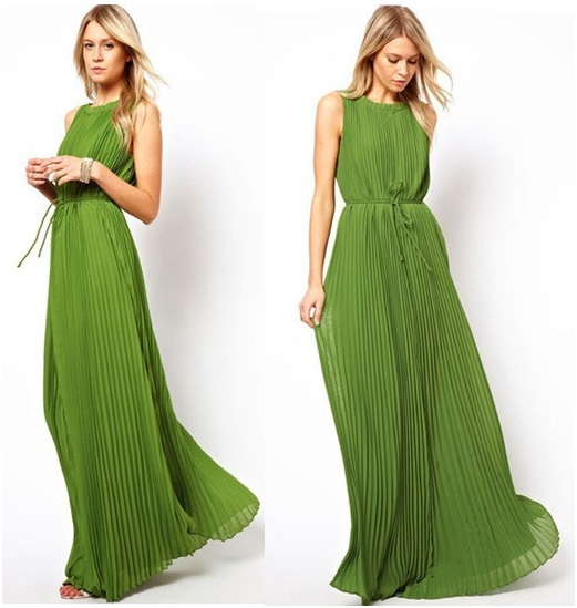 Pleated Citrus Lime Green Maxi Dress (available In 4 Sizes) on Luulla