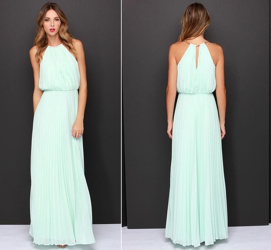 Long Sexy, Soft Aqua Chiffon Maxi Dress With O-Neck (available In ...