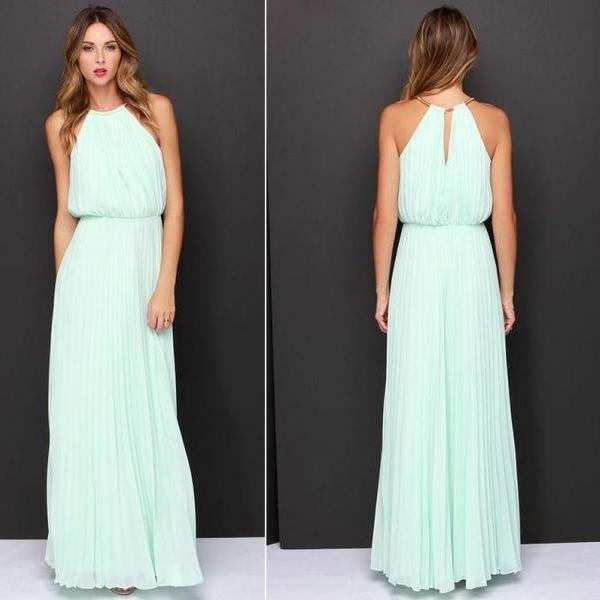 Long Sexy Soft Pastel Chiffon Maxi Dress with O-Neck (available in 2 colors) - size S, M, L, XL