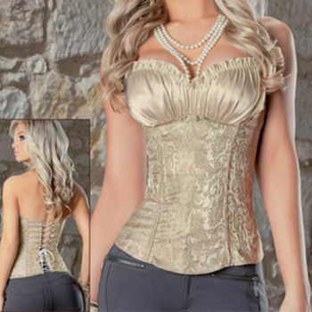Embroidered Brocade Elegant Grey Black Champagne Corset; S M L XL 2XL
