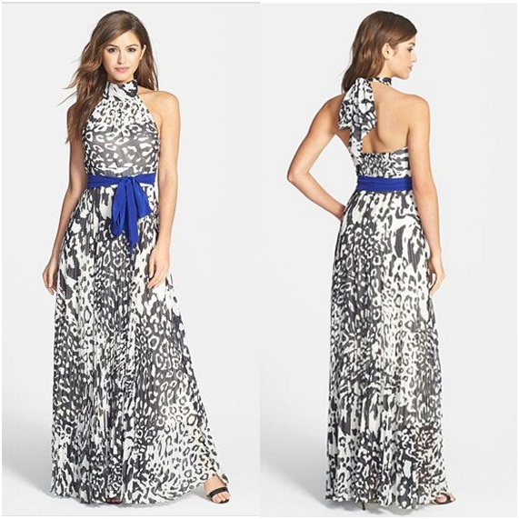Long Sexy Sleeveless Halter Neck Maxi Print Dress - (Size S, M, L, XL)
