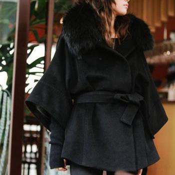 Fur Collar Black Button Fly Coat For Woman