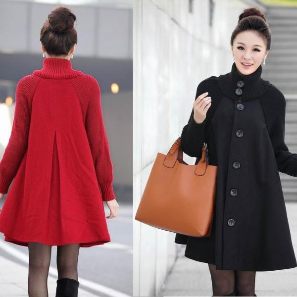 Oversized Cloak Wool Overcoat in slim Batwing Sleeve, Women Outerwear Coat - avail in 4 colors