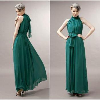 Sexy Chiffon Deep Green Ruffled Neck Bohemian Dress - available in S/M/L (6 colors)