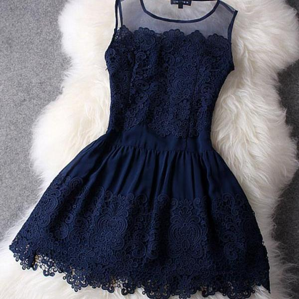Gorgeous, Sexy Blue Lace Mini Dress - available in 2 colors (Sizes S, M, L, XL)