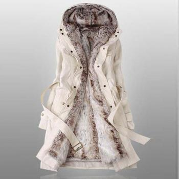 Thicken Fleece Faux Fur Warm Winter Coat Hood Parka Overcoat (3 colors) - size S thru 3XL